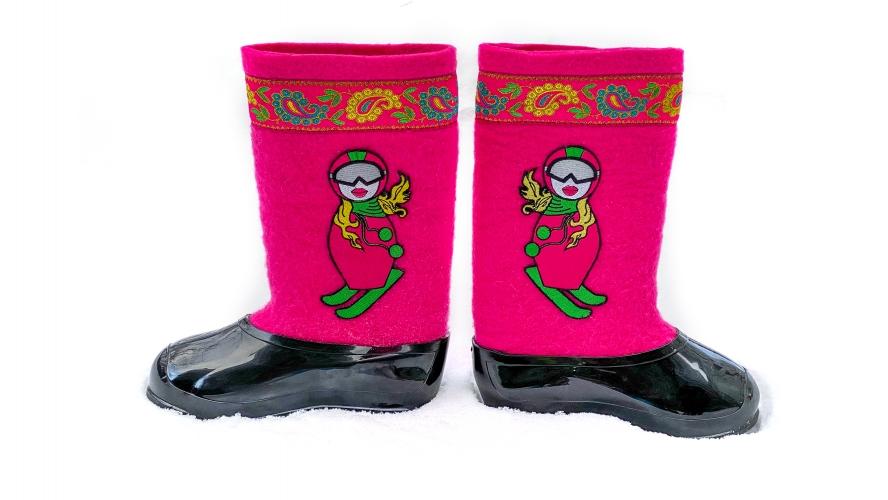 Валенки Лыжница в розовом (черные галоши)