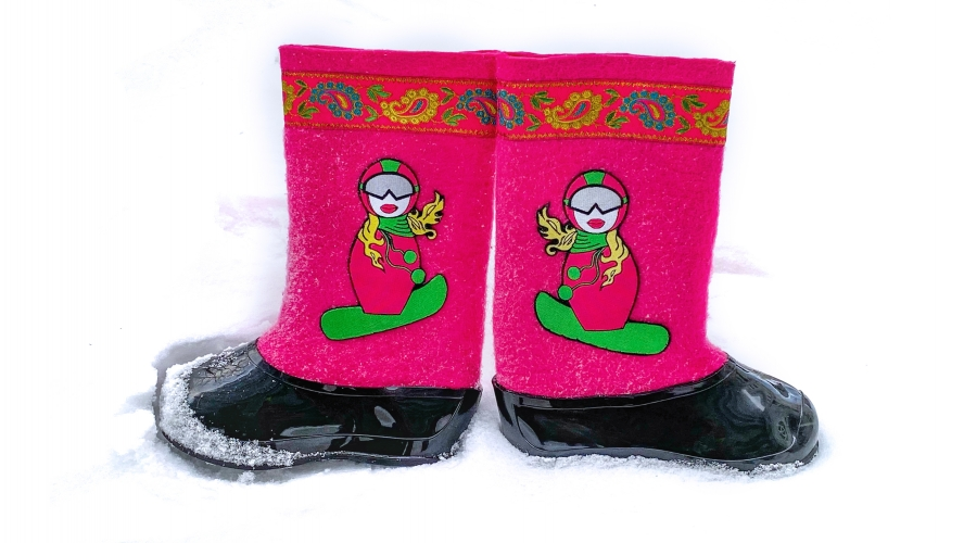 Валенки Сноубордистка в розовом (черные галоши)